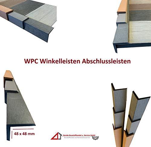 10€/m WPC Winkelleiste Abschlussleiste Abdeckleiste Terrassendielen Leiste 48x48mm Terrassendielen Abdeckung (145cm x 4,8 x 4,8, hellgrau)