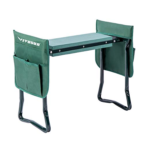 VIVOSUN Portable Garden Kneeler Seat Foldable Garden Bench with EVA Foam Pad 2 Tool Bags for Outdoor Gardening, Green