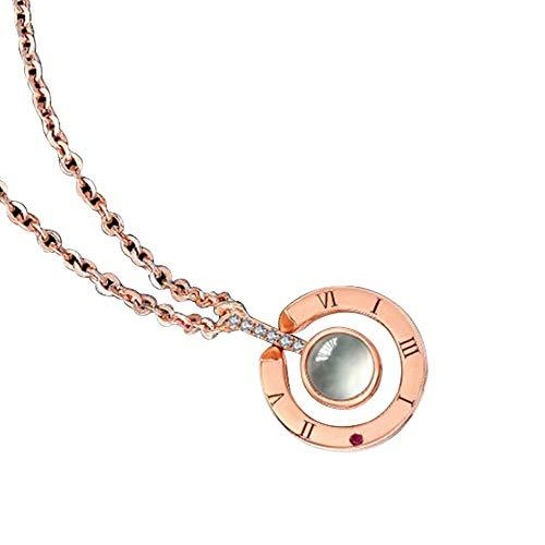 N / E Collar con colgante de plata de ley S925 para niñas, mujeres, amantes de la nanotecnología, proyección de memoria I Love You en 100 idiomas