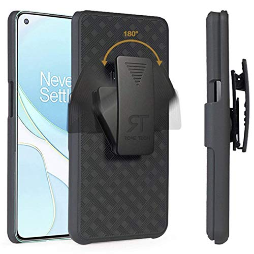 Rome Tech Holster Case with Belt Clip for OnePlus 9 Pro - Slim Heavy Duty Rugged Phone Cover with Kickstand Compatible with OnePlus 9 Pro - Black