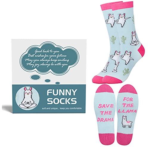 Belloxis Alpaka Socken Damen 39-42, Lama Socken Alpaka Geschenk für Frauen, Wenn Du Das Lesen Kannst Socken
