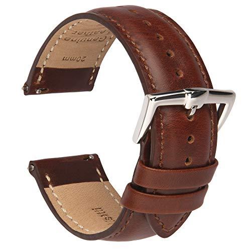 B&E Bracelets de Montre en Cuir à Dégagement Rapide - Bracelets élégants pour Hommes et Femmes - 16mm 18mm 19mm 20mm 21mm 22mm