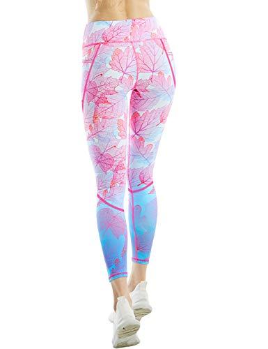 COOLOMG Sport Damen Leggings Yoga Hose Sporthose Fitnesshose Laufhose lang mit Taschen Blätter S