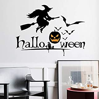 Holly LifePro Witch Bat Spider Web Party Supplies Happy Halloween Removable Decal Wall Sticker for Bar Living Room Home Pa...