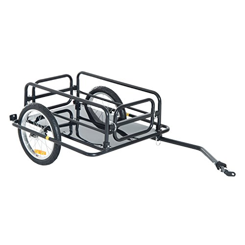 Aosom Foldable Bike Cargo Trailer Bicycle Cart Wagon Trailer with Hitch, Black