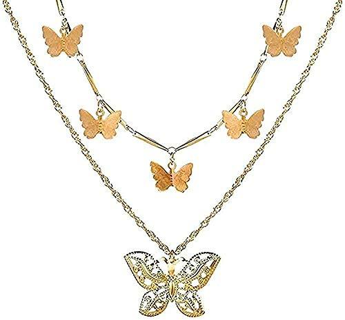 YOUZYHG co.,ltd Collar Mujer Collar Mujer acrílico Collar Mariposa Colgante Collares para Mujeres niñas Brillante Dulce Collar Elegante Gargantilla joyería d Regalo de Verano