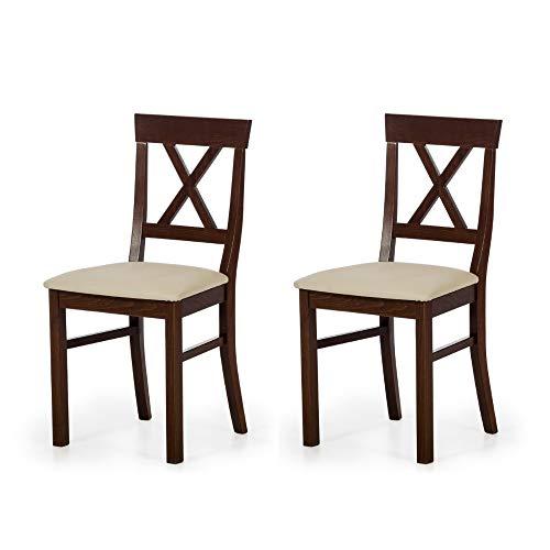 Amazon Marke -Alkove - Hayes - Set aus 2 Stühlen aus Massivholz mit gepolsterter Sitzfläche, Buche lackiert