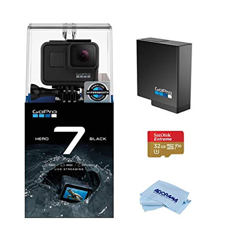GoPro HERO7 Black - Waterproof Digital Action Camera with Touch Screen 4K HD Video 12MP Photos Live Streaming, Bundle with Extra GoPro Battery + 32GB SD Card + Cleaning Cloth