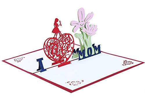 3D-Pop-Up-Karte für Muttertag, Muttertagsgeschenke, Muttertagskarte, Geburtstagskarte, Dankeskarte, Jubiläumskarte, handgefertigte Pop-Up-Karten für alle Anlässe