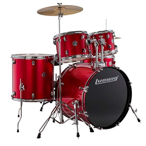 Ludwig Accent Series Complete Drum Set, Red Foil (LC17514)