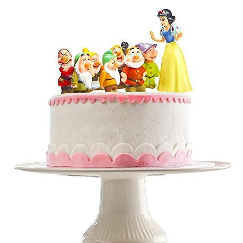 BAIBEI 8 Stück/Set Schneewittchen EI Sieben Zwerge Doll Cake Topper, Szene Dekoration Geburtstag Kuchen Spielzeug Figur Mini Garten Dekoration Figuren Kinder Geschenke