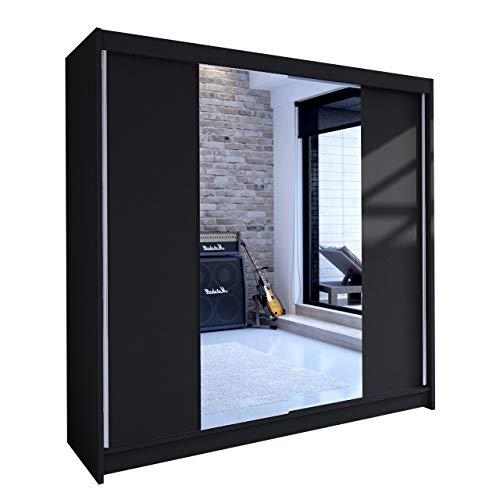 Mirjan24 Schwebetürenschrank mit Spiegel Talin II, Kleiderschrank mit Kleiderstange und Einlegeboden, Breite: 180cm, Schlafzimmer, Modern Design...