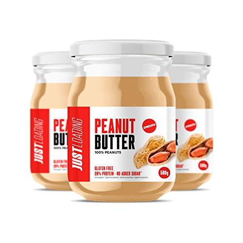 Just Loading - Crema de Cacahuete 100% Natural PACK 3 Uds x 500 g - Sin gluten y fuente de proteínas…