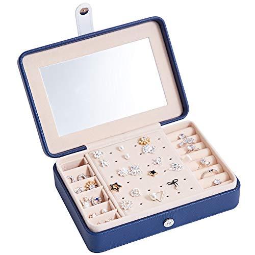 qddan Caja de Organizador de joyería pequeña Espejo Incorporado con Secciones de Almacenamiento Almacenamiento de Joyas Regalo (Color : BlueA)