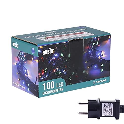 ANSIO® Luci Natale Esterno 10m 100 LED Luci Albero di Natale Natalizie Luminose Colorate Luci Natalizie da Esterno/Interno Ideale per Mantello, Balcone Lucine Luminoso   Cavo Verde