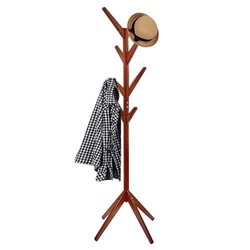 SPRINGOS - Perchero de pie (171 x 45 cm, madera maciza, escandinavo, perchero de pie independiente), color marrón y natural