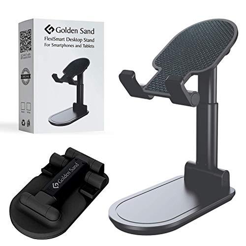 Golden Sand Flexi Smart Adjustable Cell Phone Stand, Sturdy Foldable Portable Mobile Stand Phone Holder for Desk, Matte Black