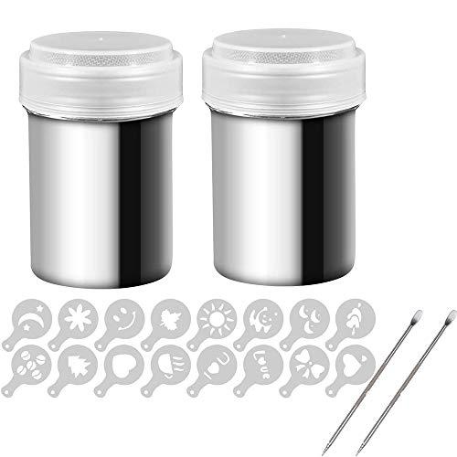 Junzheng Cappuccino Schablonen Kit,2 Stück Edelstahl-Pulverstreuer mit 16 Stück Druckform-Schablonen und Latte Löffel,für das Backen Kochen nach Hause