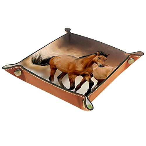 Caballo marrón, bandeja de valet de cuero de la PU bandeja de artículos de la bandeja de la joyería de la bandeja de la llave del escritorio de la placa de almacenamiento para dados moneda