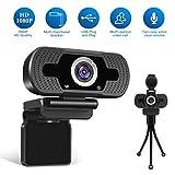 Webcam LarmTek 1080P Full HD avec cache webcam, caméra d'ordinateur portable pour conférence et appel vidéo, webcam Pro Stream avec appel vidéo Plug and Play Mic Micro intégré
