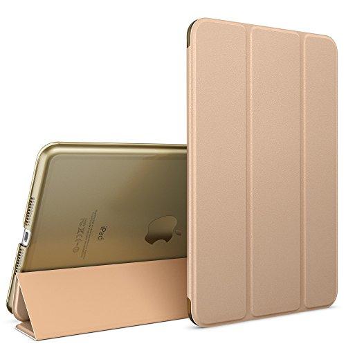 NALIA Smart-Case Hülle kompatibel mit iPad Pro 12,9 \' Zoll (2015), Ultra-Slim Cover Dünne Tablet Schutzhülle, Kunst-Leder Hardcase Ständer, Display-Schutz & Backcover Flip-Case Klapphülle, Farbe:Gold