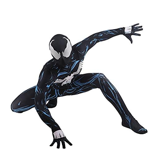 Nuitab Enfant Venom Spiderman Cosplay Costume Anniversaire Cadeau Tenues Costume de Noël Film Jeu de rôle Body Halloween déguisé déguisement Carnaval Onesies,Black-Kids XS (100~110)
