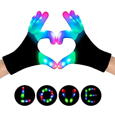 SIPU LED Gloves, Light Up Gloves Finger Lights 3 Colors 6 Modes Flashing LED Warm Gloves Colorful Flashing Gloves Kids Toys for Christmas Halloween Party Favors,Gifts (kid-1pair)