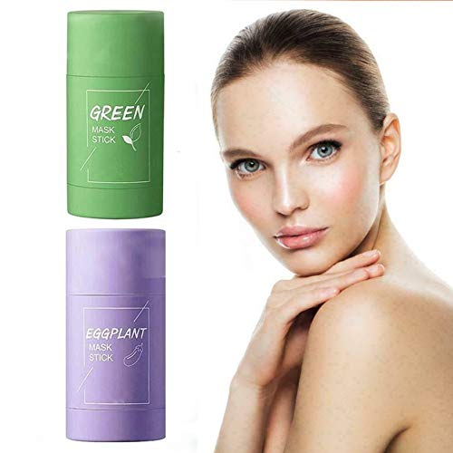 Green Tea Purifying Clay Stick Mask, Oil Control Anti-Acne Eggplant Fine Solid, blackhead deep cleansing mask, Moisturizes and Controls The Oil, Improves Texture of The Skin
