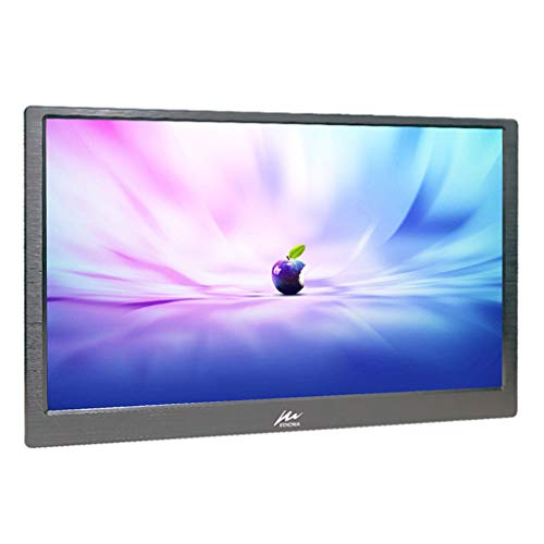 """15.6"""" FULL HD Slim Monitor, Kenowa LED monitor portatile Schermo IPS Monitor Da Gioco 1080P Utilizza shell CNC, 2 Mini HDMI, Alimentato Via USB, Uscita Per Auricolari, Con Custodia In Pelle, Nero"""
