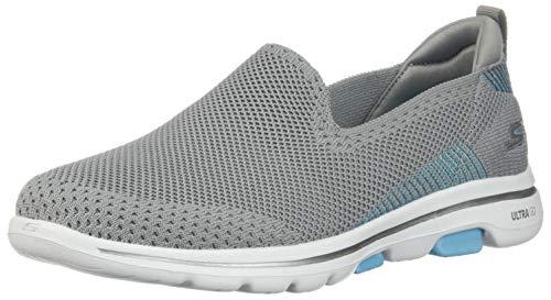 Skechers Damen Go Walk 5 Prized Sneaker, Grau (Grey Textile/Trim Gy Bl), 37 EU