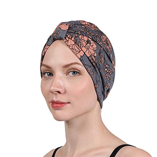 Women's Turban Double Layer Satin Liner Chemo Cap Flower Print Beanie Head wrap Bonnet Hair Loss Hat (Grey)