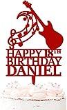 Instrumento personalizado de cumpleaños cualquier nombre guitarra acrílico pastel Topper notas musicales celebración 20 colores rojo oscuro