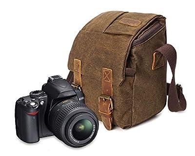 Vintage Waterproof Canvas Leather Trim DSLR SLR Shockproof Camera Shoulder Messenger Bag Photo Camera Sling Bag for DSLR and Mirrorless Cameras