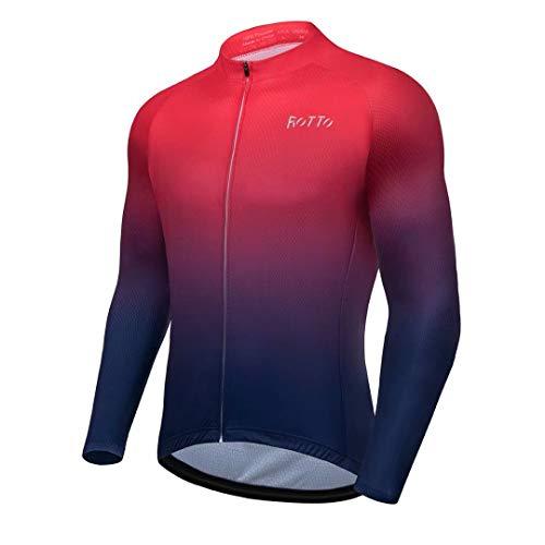 ROTTO Maillot Ciclismo Hombre Camiseta Ciclismo Manga Larga con Bolsillo Serie de...