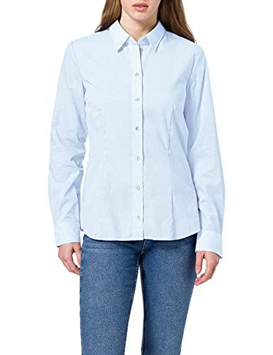 Seidensticker Damen Regular Fit Bluse Hemdbluse Langarm Regular Fit Uni Bügelfrei, Blau (12), 48 (Herstellergröße: 48)