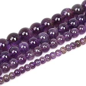 Cuentas de piedra natural mate para joyería, manualidades, pulseras y collares, varios tipos de piedra y varios tamaños, amatista, 8mm about 48Pcs