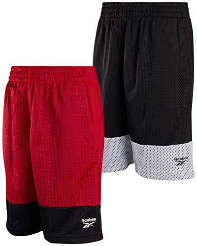 Reebok Boys' Active Shorts - Mesh Basketball Shorts (2 Pack), Size Large, Black/White/True Red/Black'