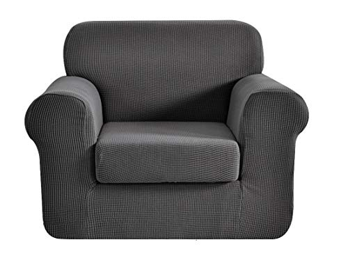 E EBETA Tunez Funda sofá Duplex, Funda de sofá, Tejido Jacquard de poliéster y Elastano, Funda de Clic-clac elástica Cubiertas de sofá de 1 Plaza (Gris Oscuro, 85-115 cm)