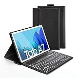 Jelly Comb Beleuchtete Tastatur Hülle für Samsung Galaxy Tab A7 10.4 Zoll T505/T500/T507, Schützhülle mit Bluetooth Abnehmbarer QWERTZ Tastatur, 7 Farbige Hintergr&beleuchtung, Schwarz