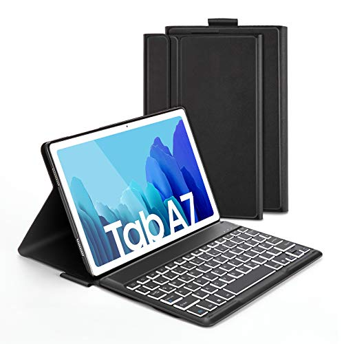 Jelly Comb Beleuchtete Tastatur Hülle für Samsung Galaxy Tab A7 10.4 Zoll T505/T500/T507, Schützhülle mit Bluetooth Abnehmbarer QWERTZ Tastatur, 7 Farbige Hintergrundbeleuchtung, Schwarz