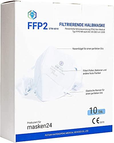 MASKEN24 STM 6010 Zertifizierte FFP2 Maske Faltbar - 10 Stück einzelverpackt im PE-Beutel - 4-lagige Mundmaske