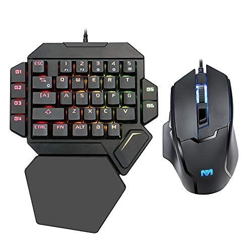K50 RGB Gaming-Tastatur mit Kabel, 35 Tasten, Einhand-Schalter, Blau