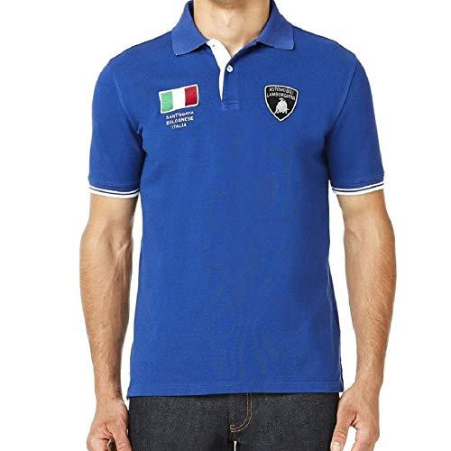 Lamborghini Mens Italienische Flagge SS Polo Kobalt S