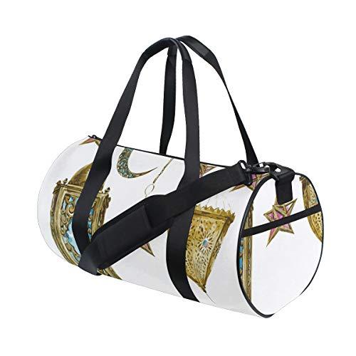 ZOMOY Sporttasche,Laterne Aquarell Mond Sterne drucken,Neue Bedruckte Eimer Sporttasche Fitness Taschen Reisetasche Gepäck Leinwand Handtasche