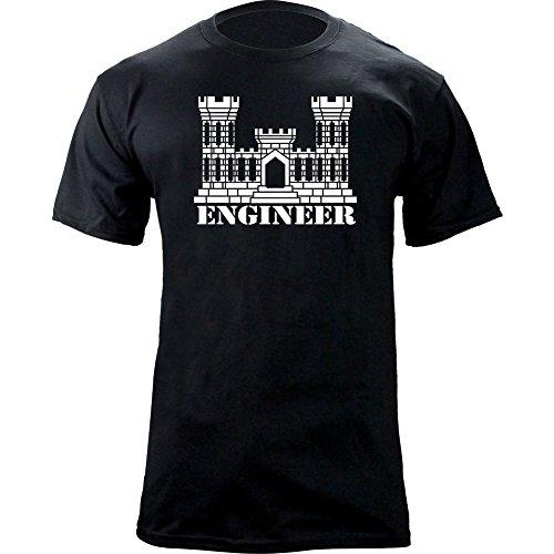 Army Engineer Branch Insignia Castle Veteran Graphic T-Shirt (L, Black)