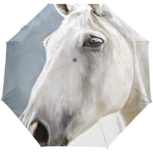 Lindo Animal Caballos Blancos Auto Cerrar Paraguas Sol Lluvia
