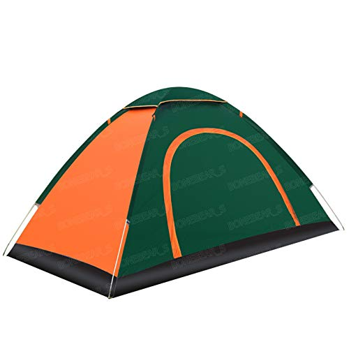 Tienda de campaña al aire libre abierta rápida automática 3-4 personas doble 2 personas playa camping tienda (verde hierba, 1-2 p puerta individual con parte superior y alfombrilla antimojada)