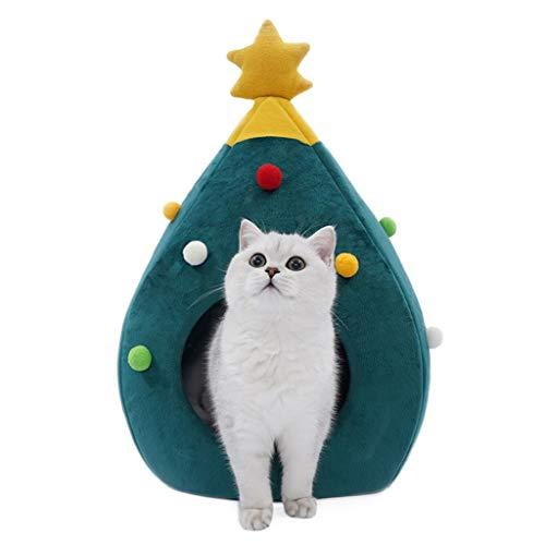 Kat huis grot huisdier slapen bed kerstboom vorm warme hond nest kitten huis seizoenen universele kussen 65x42x40cm