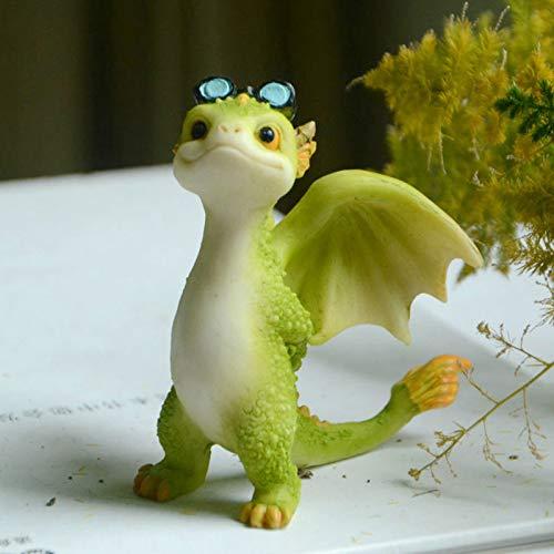 ZS ZHISHANG Dragon Statue Garden Ornaments Cute Landscape Resin Figurines Garden Crafts Decorations