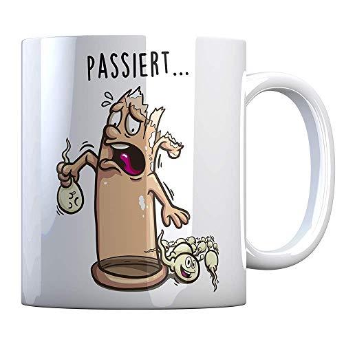 Tassenbude Kaffee-Tasse mit witziger figur - geplatztes Kondom Sperma - sexy Bürotasse mit Spermien Pariser zweideutig beidseitig bedruckt spülmaschinenfest Geschenk-Idee